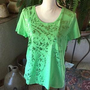 NWOT  Chico's Green Short Sleeve Top